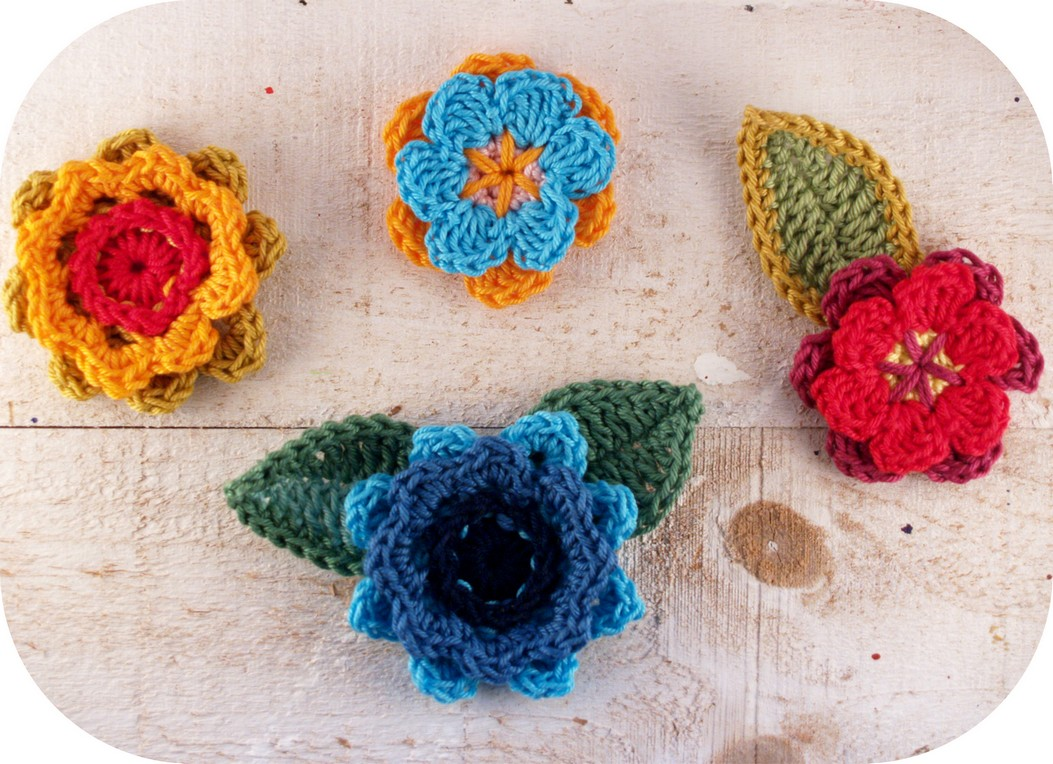 Dekorative Häkelblüten & Blätter - mimameid:ana